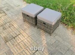 2 PCS Small Rattan Footstool With Cushion Grey Patio Garden Furniture