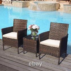2 Seater Love Seat Rattan Garden Furniture Sofa 3Pcs Patio Table Set Cushions