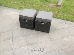 2 pcs Grey rattan footstool patio outdoor garden furniture