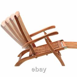 2x Wooden Deck Chair Sun Lounger Recliner Outdoor Garden Patio Furniture Wood