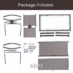3 Pcs Garden Balcony Set Glass Table+3 Mesh Chairs Patio Indoor&Outdoor Pool Set