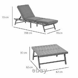 3 Pcs Garden Seating Set with Sofa Lounge Coffee Table Outdoor Patio Furniture