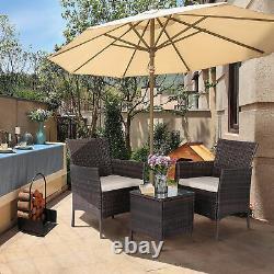 3 Pcs Rattan Garden Furniture Set Patio Bistro Sets Dinging Table Garden Chairs