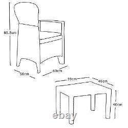 3 Piece Bistro Set Patio Garden Furniture Outdoor Table 2 Armchairs Rattan Style
