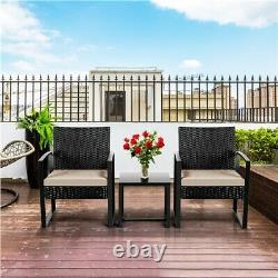 3 Piece Garden Furniture Sets Patio Rattan Chairs and Table with Beige Cushions