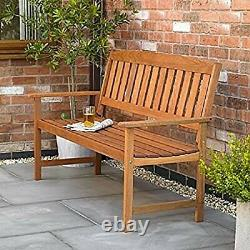 3 Seater Wooden Garden Bench Traditional Hardwood Outdoor Patio Furniture 120cm