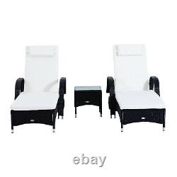 3PC Rattan Sun Lounger Wicker Sofa Day Bed Recliner Furniture Garden Patio Black