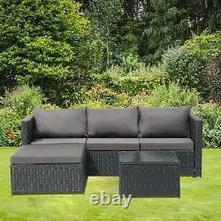 3PCS Outdoor Patio Sectional Furniture PE Wicker Rattan Sofa Set Garden Yard UK