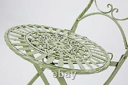 3pc Green Garden Furniture Set Folding Bistro Patio Furniture Oval Table Metal