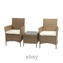 3pc Rattan Garden Furniture Outdoor Patio Set Coffee Table with 2 Arm chairs