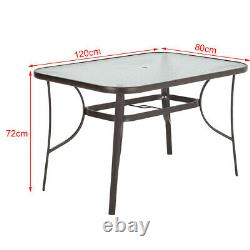 4/6Seater Garden Glass Top Table Outdoor Furniture Patio Cafe Bistro Table 120cm