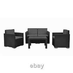 4 Pc Black Lounge Garden Furniture Patio Rattan Design Conversation Set Cushions