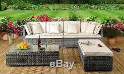 4 Piece Rattan Garden Patio Furniture Outdoor Set Sofa, Ottoman, Coffee Table