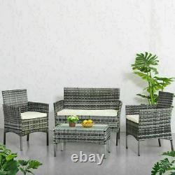 4 piece Rattan Garden Set Furniture Set Chair Sofa Table Set Garden Patio