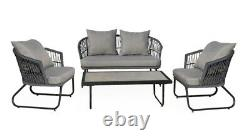 4PC Rope Garden Patio Furniture Set Outdoor 2 Chairs 1 Sofa & Coffee Table