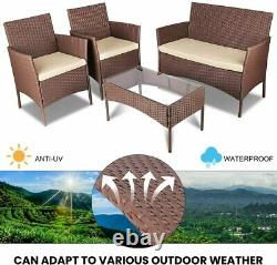 4PCS Brown Rattan Garden Furniture Outdoor Sofa Chair Table Patio Conservatory