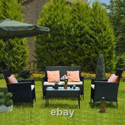 4PCS Patio Rattan Garden Furniture Set Table Chair Sofa cushion Outdoor indoor