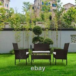 4PCS Patio Ratten Garden Furniture Set Table & Chair Sofa cushion Outdoor indoor
