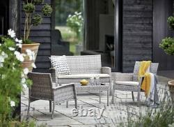 4pc Garden Rattan Furniture Set Conservatory Patio Outdoor Table Chairs Lounge