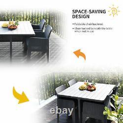 5 PCS Outdoor PP Rattan Garden Dining Cube Set Patio Furniture Set