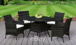 5PC Rattan Dining Set Outdoor Garden Patio Furniture 4 Chairs & Round Table
