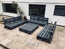 6 Grey Indoor/Outdoor Rustic Patio Garden Pallet Furniture Chairs & 2 Tables