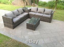 6 seater rattan corner sofa 2 coffee tables patio outdoor garden furniture grey