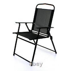 6pc Garden Furniture Set Square Glass Table & 4 Folding Chairs & Tilting Parasol