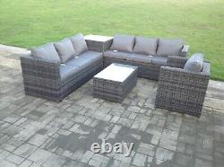 7 seater corner grey rattan sofa chair table outdoor garden patio furniture set