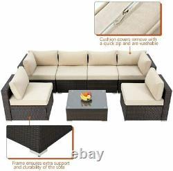 7PC Rattan Garden Furniture Corner Sofa Set Outdoor Patio Sofa