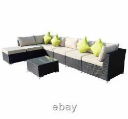 8PC Rattan Home Furniture Garden Patio Corner Sofa Set Wicker Brown Aluminium