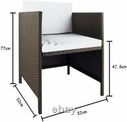 9 Pcs Outdoor Rattan Garden Patio Furniture Set Table Chair Stools & Cushions