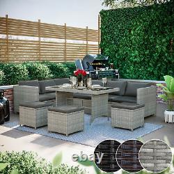 9 Seater Rattan Garden Furniture 10pc Corner Sofa Table Chair Outdoor Patio Set