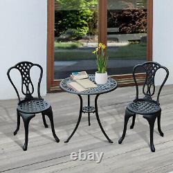Aluminium Cafe Bistro Set Garden Furniture Table and Chair 3pc Patio Cast Black