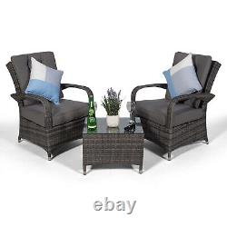 Arizona 2 Seat Rattan Lounge Chair & Table Patio Garden Furniture Set with Cover