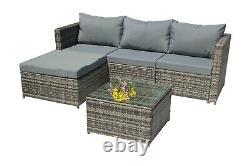 BIRCHTREE Rattan Garden Furniture Set Corner Sofa Glass Table Patio 5 Pieces 01
