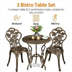 Bistro Set 3PCS Patio Table and Chairs Aluminum Garden Furniture Set Outdoor