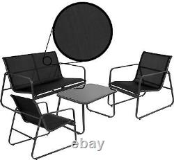 Black Contemporary Furniture Lounge Set 4pc Sofa Glass Table Chairs Garden Patio