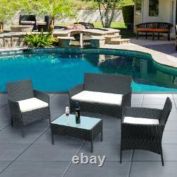 Black Rattan Garden Furniture 4 piece Set Chair Sofa Table Waterpool Patio