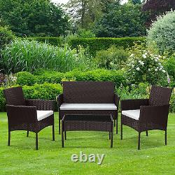 Brown Garden Rattan Set Outdoor Patio Furniture Bench Sofa + 2 Chairs + Table