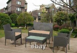 Conservatory 4 Piece Outdoor Rattan Sofa Garden Furniture Patio Set Table Chairs