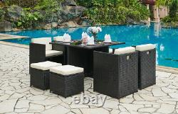 Cube Rattan Garden Furniture Outdoor 9 Piece Set Conservatory Patio Dining Cover