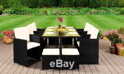 Cube Rattan Garden Furniture Set Chair Sofa Table Outdoor Patio Wicker 10 Seater
