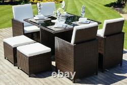 Cube Rattan Garden Furniture Set Rattan Table Chairs Outdoor Patio Brown Wicker