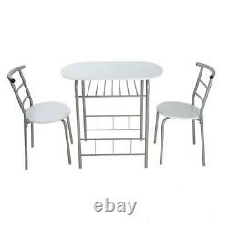 Dining Table And 2 Chairs Set MDF Metal Legs Shelf Kitchen Desk Furniture
