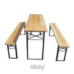 Folding Table And Bench Set Outdoor Garden Patio Picnic Party 3 Piece Furniture