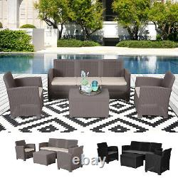 Garden 4 PCS PP Rattan Wicker Cushioned Furniture Sectional Sofa Patio Set