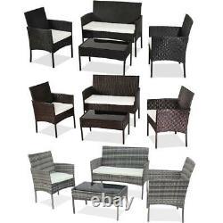 Garden 4 Piece Rattan Wicker Furniture Set Table Sofa Black/Brown/Grey Patio UK