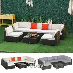 Garden 7 PCs Rattan Furniture Set Patio Sectional Sofa Cushion Seat Wicker