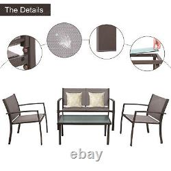 garden furniture 4x patio set glass table and chairs corner lounge outdoor brown